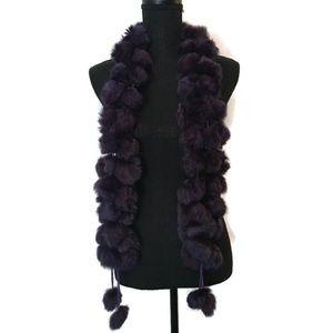 Purple Fuzzy Ball Scarf Warm Fall Winter Accessory